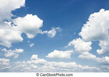 azul, verano, nubes oscuras, cielo