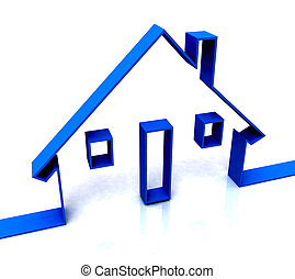 azul, verdadero, bosquejo, propiedad, casa, alquileres, o, exposiciones