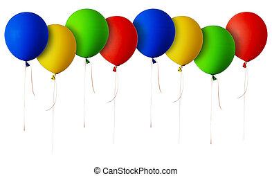 azul, verde amarelo, linha, balões, vermelho
