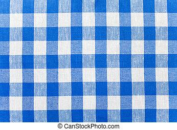 azul, verificado, tecido, toalha de mesa