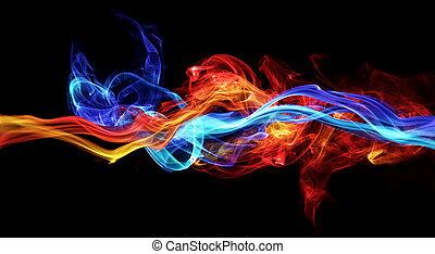 azul, vermelho, fumaça