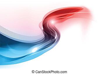 azul vermelho, onda