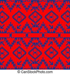 azul, vermelho, ornamentos, textura, étnico