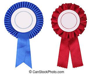 azul vermelho, rosettes, com, espaço cópia