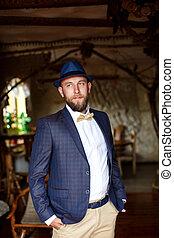 azul, vestido, casaco, noiva, casório, homem