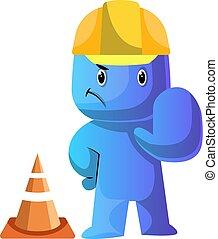 azul, vestido, costruction, trabajador, ilustración, vector...