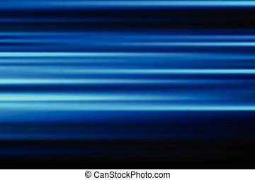 azul, vetorial, abstratos, velocidade, borrão moção, de, noturna, luzes, cidade, exposição longa, fundo
