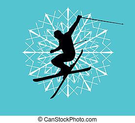 azul, vetorial, arte, fundo, esquiador