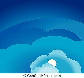 azul, vetorial, céu, ilustração, clouds.