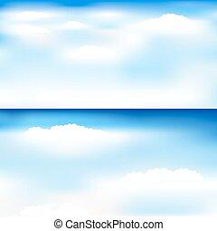 azul, vetorial, céu