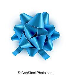 azul, vetorial, card., presente, festivo, isolated., ilustração, arco, decoração, aniversário, feriado, fita, celebração