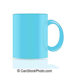 azul, vetorial, copo, isolado, branco, fundo