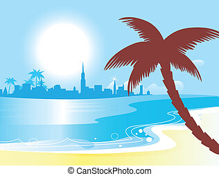 azul, vetorial, ensolarado, paisagem, oceânicos