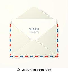 azul, vetorial, envelope, stroke., vermelho
