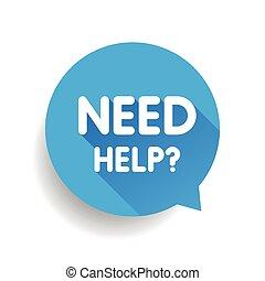 azul, vetorial, fala, (question, necessidade, help?, bolha,...