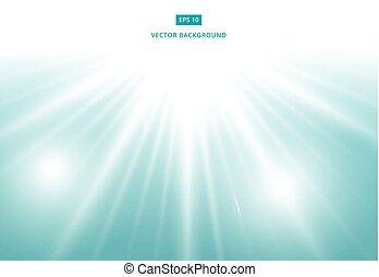 azul, vetorial, fundo, efeito, luz solar
