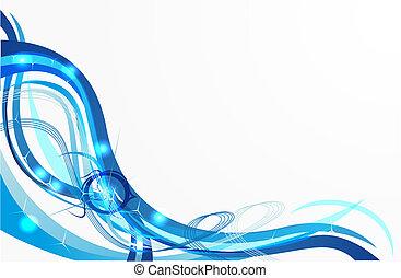 azul, vetorial, fundo