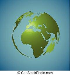 azul, vetorial, globo, ilustração, fundo, mundo