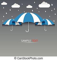 azul, vetorial, guarda-chuva, fundo, chuva