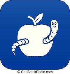 azul, vetorial, maçã, verme, ícone
