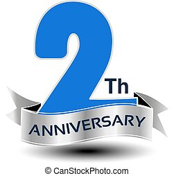 azul, vetorial, número, anos, aniversário, 2, prata, fita