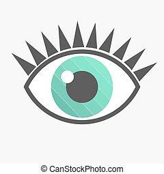 azul, vetorial, olho, ícone