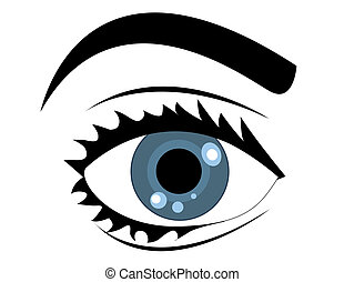 azul, vetorial, olho