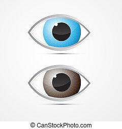 azul, vetorial, olhos, marrom