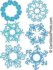 azul, vetorial, ornamento, cobrança