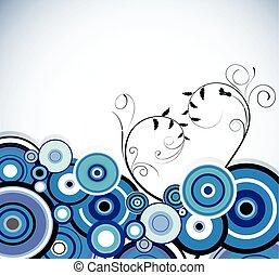 azul, vetorial, romanticos, experiência., rings., floral