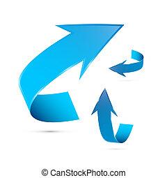 azul, vetorial, setas, jogo, isolado, branco, fundo