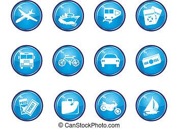 azul, viaje, 12, brillante, iconos