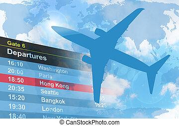 azul, viaje, avión