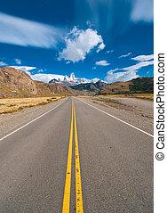 azul, vibrante, imagen, cielo, carretera