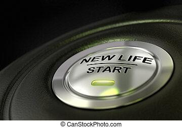 azul, vida, concepto, empujado, botón, luz, comienzo, plano de fondo, negro, nuevo, cambiar, encima