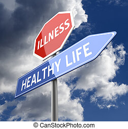 azul, vida, enfermedad, sano, señal, rojo, palabras, camino