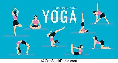 azul, vida, mulher, ioga, illustration., ícones, saudável, dá uma estocada, exercises., experiência., vetorial, condicão física, ativo, menina, desporto, squats., concept.