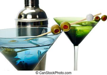 azul, vidro, verde,  Martinis