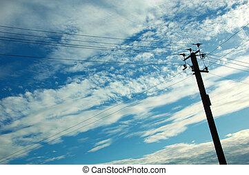 azul, viejo, cielo, poste, telégrafo, plano de fondo