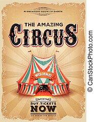 azul, viejo, cima grande, circo, cartel, vendimia, rojo