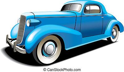 azul, viejo, coche