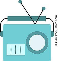 azul, viejo, ilustración, fondo., vector, radio, blanco