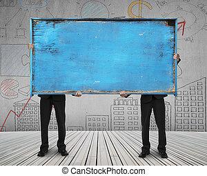 azul, viejo, noticeboard, de madera, dos, estante, blanco,...