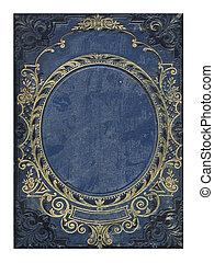 azul, viejo, oro, cubierta, libro, floral