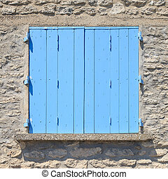 azul, viejo, pintado, patrón, puerta, de madera, france., provence