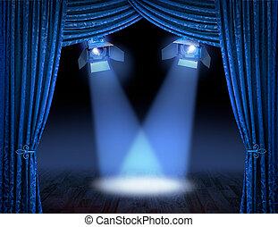 azul, vigas, proyector, estreno