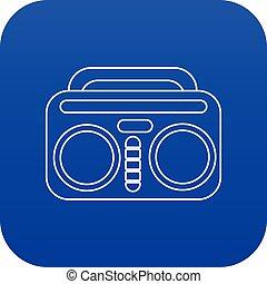 azul, vindima, boombox, vetorial, ícone