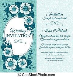 azul, vindima, convite casamento, cartão