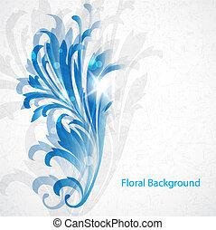 azul, vindima, floral
