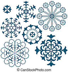 azul, vindima, jogo, snowflakes